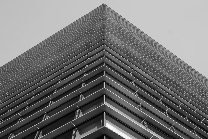 Architecture Architecture_collection Milan Milano The Graphic City Architectural Detail Architectural Feature Architecture Architecturelovers Architecturephotography Black And White Blackandwhite Building Building Exterior Built Structure Clear Sky Day Low Angle View Modern No People Office Building Outdoors Pattern Sky