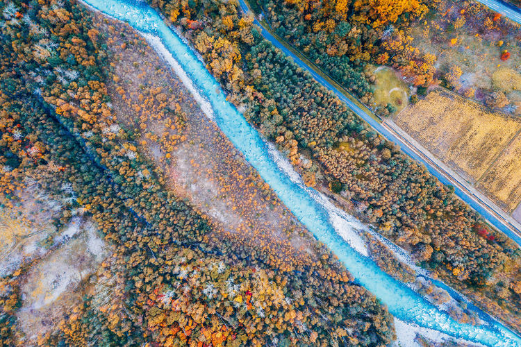 Daisetsuzan No People High Angle View Transportation Day Nature Aerial View Outdoors Environment Autumn Full Frame Track Metal Rusty Beauty In Nature Railroad Track Land Pattern Rail Transportation Water
