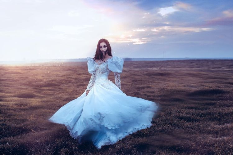 179. Adult Beach Bride Cape  Cloud - Sky Concept Cultures Day Fantasy Nature Nature One Person One Woman Only One Young Woman Only Only Women Outdoors People Portrait Sky Sunset Sunset_collection Wedding Dress Women Young Adult