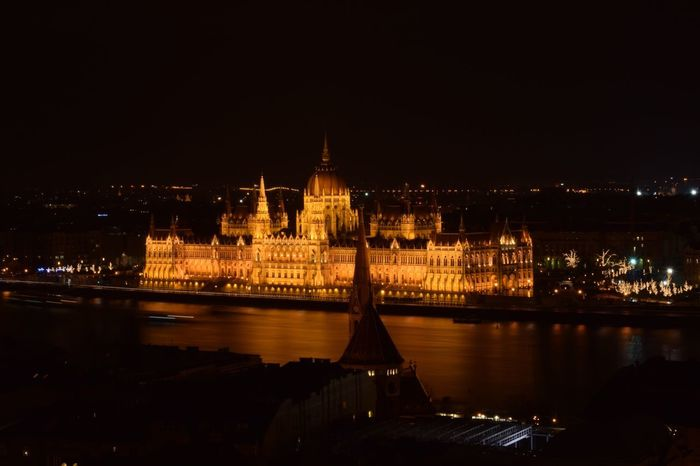 #Budapest #Hungary Parlament Hungary Budapest Architecture Built Structure Night Illuminated Building Exterior Water River First Eyeem Photo