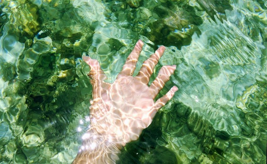 Cropped Hand Of Person In Sea