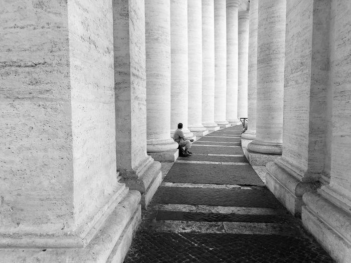 Passageway amidst columns