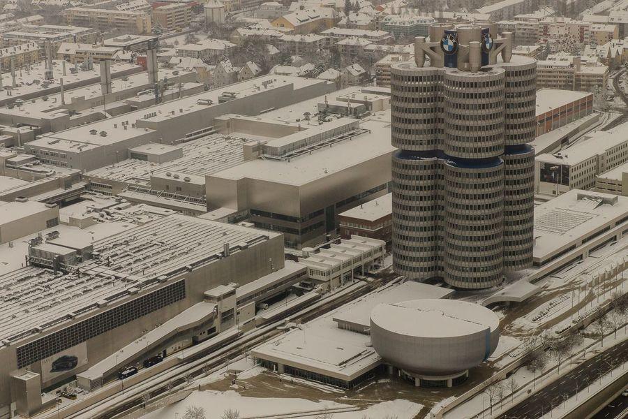 Winter Munich Snow Covered Snow BMW Tower