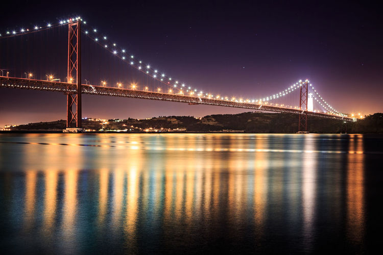 The Ponte 25 de Abril Bridge in Lisbon, Portugal Architecture Bridge - Man Made Structure Built Structure Chain Bridge Clear Sky Connection Engineering Illuminated Nature Night No People Outdoors Reflection River Sky Suspension Bridge Tourism Transportation Travel Travel Destinations Water Waterfront