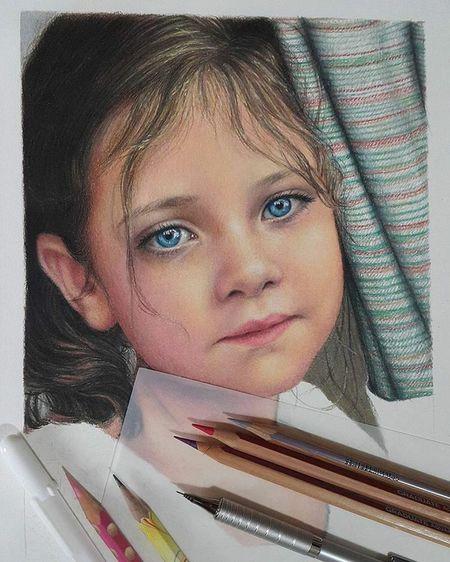 #hazemgarip Drawing Drawing_hazem_garip One Person Portrait Headshot Looking At Camera Women Girls Child