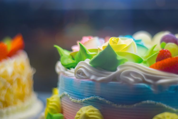 Close-up of multi colored cake