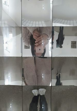 Mirror mirror One Person Reflection Mirror Mobile Conversations EyeEm Best Shots Minimalism Simplicity Peach Pink Samsung Mobilephone Holding Cropped Hand Female Fingers Hand Portable Information Device Communication Technology Human Body Parts Upside-Down Moody Smart Phone Full Frame Glass
