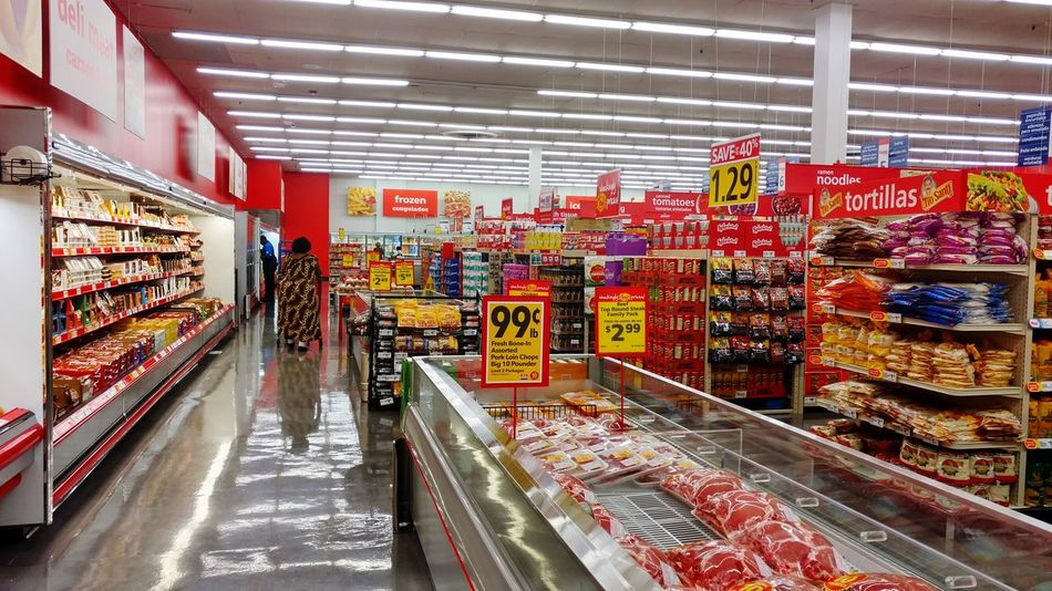 Groceries Food Woman Shopping Lights Meat Prices Shine Reflection Signs Colorful