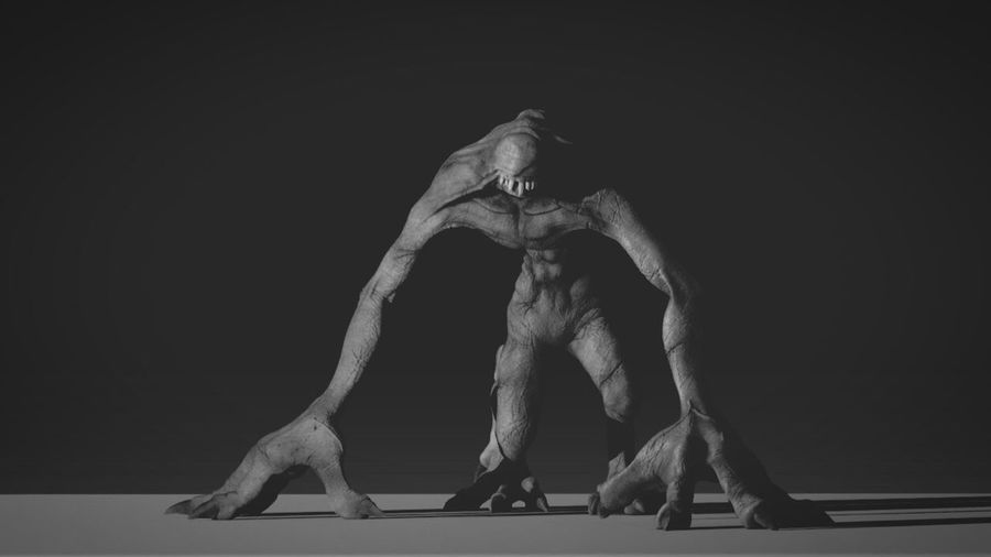 Full Length Studio Shot Black Background Strength Flexibility Agility One Person Stretching Moster Zbrush