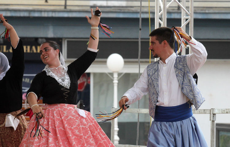 Members of folk group Escola de ball de bot Calabruix from Mallorca, Spain during the 50th International Folklore Festival in center of Zagreb, Croatia on July 22, 2016 Participant Celebration Costume Croatia Culture Dance Entertainment Event Festival Folk Folklore Heritage Historical Mallorca Music Perform Show SPAIN Style Tradition Zagreb