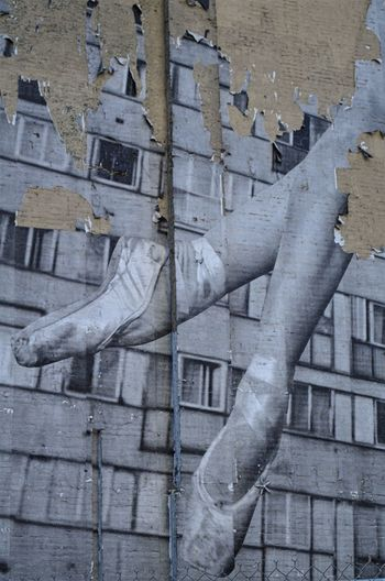 Street art of ballet slippers eroding from a Manhattan building Ballet Ballet Shoes Ballet Slippers Building Exterior Disappearing Eroding Manhattan New York City Outdoors Pjpink Streetartistry The Past Urban