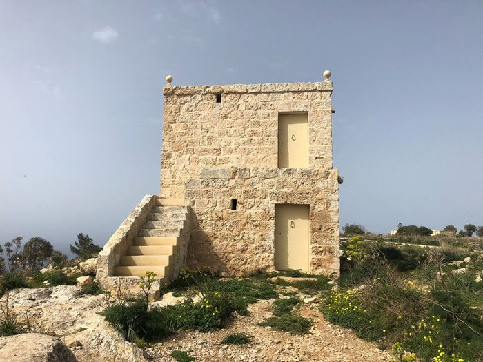 Near Dingli Cliffs, Malta 🇲🇹 Nofilter Malta Dingli Cliffs Architecture Built Structure Sky Nature History The Past Sunlight Building Building Exterior Low Angle View Old Clear Sky Tourism Travel Destinations Travel