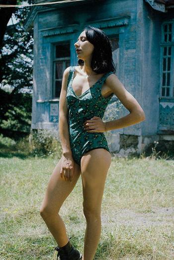 Woman Posing In Vintage Swimsuit
