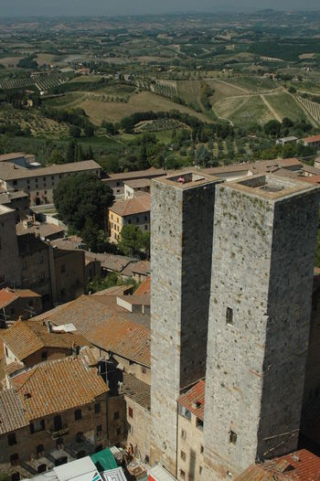 Aerial View Elevated View Houses Landscape San Gimignano Towers Town Two Towers