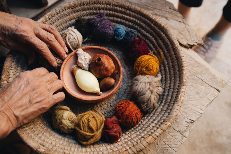 Close up view of yarn and wool