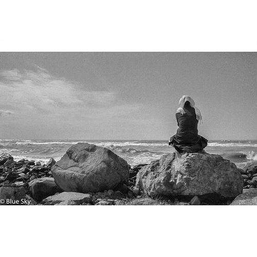 NikonD7100 NikorVR Spring Sea beach lonley lovely stone Nature people waves Water remember romance romantic waiting