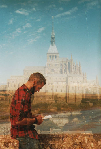 Golden hour. Summertime Double Exposure Portrait Outdoors Sky Film Photography Analogue Photography Kodak Portra Beauty In Nature Nikon Argentic Springtime Grain Silhouette Men Adults Only Adult Only Men One Person Mont Saint-Michel My Love Travel Normandietourisme Oldcamera Nikonf