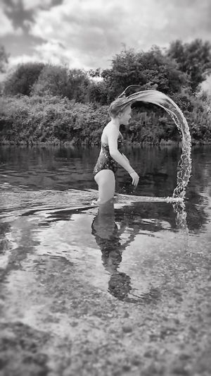 Slow Motion River Life River Water Droplets Water_collection Splash Enjoyment Enjoying Life Droplets Fun Water Having Fun Childhood Black And White Photography Bnw_collection Week On Eyeem Water Reflections People And Places Monochrome Photography Capturing Motion