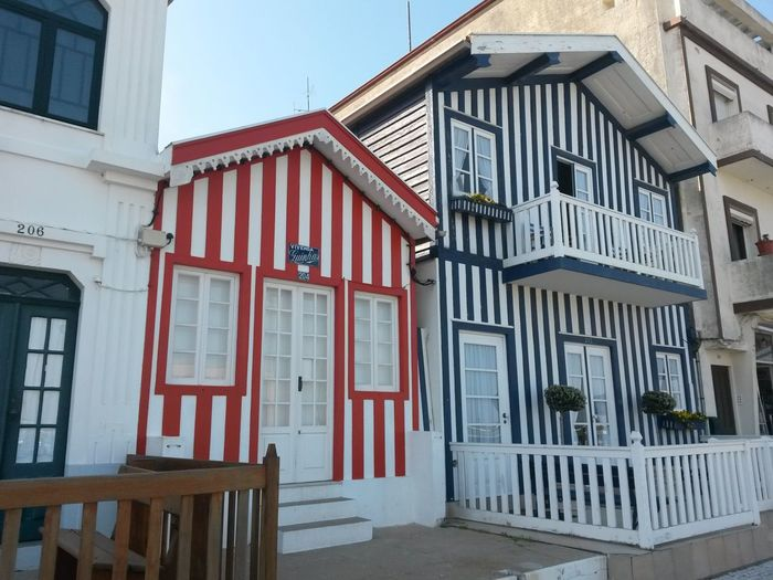 Architecture Building Exterior Sunny Day Portugal Houses By The Sea Costa Nova Architecture Aveiro, Portugal Houses Façade Sunny Day 🌞
