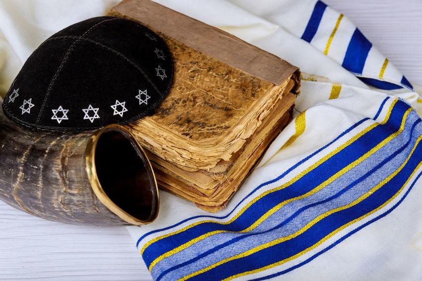Tallit and Shofar horn jewish religious symbol Prayer Shawl Passover Rosh Hashanah Talith Yom Kippur Kippah Pessah Prayer Prayer Shawl Religious Celebration Shavuot Shofar