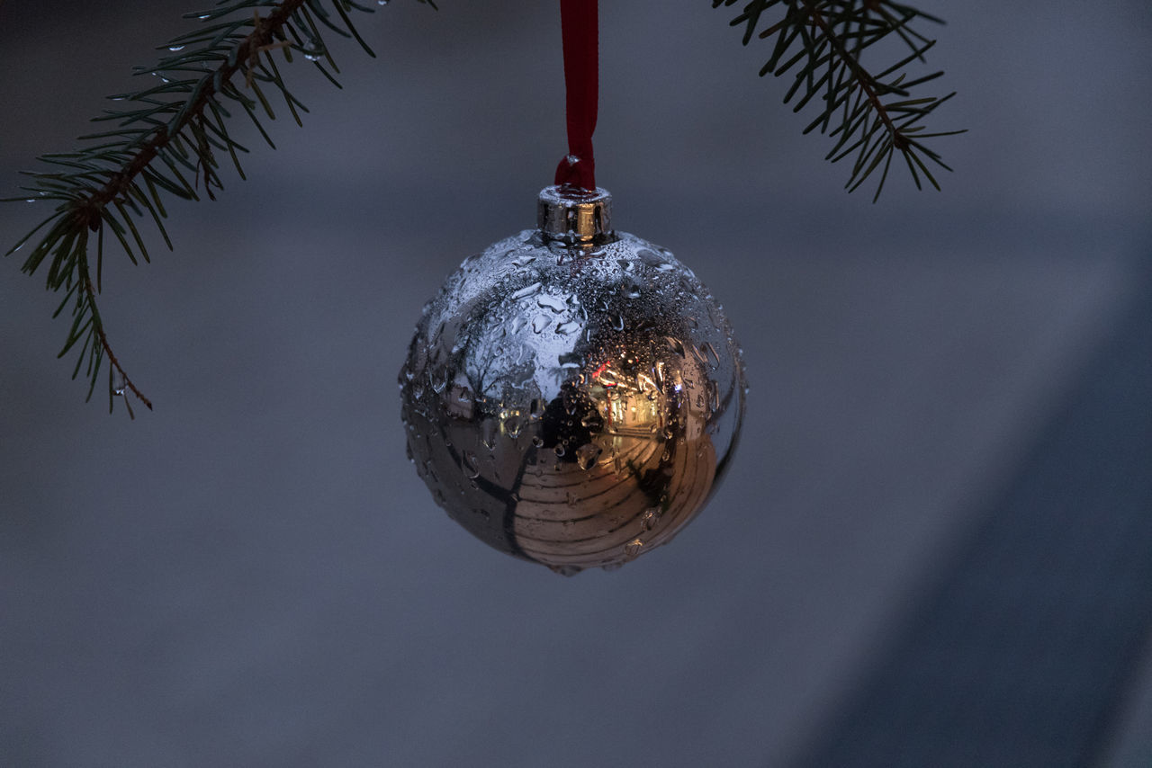 Close-Up Of Bauble On Christmas Tree