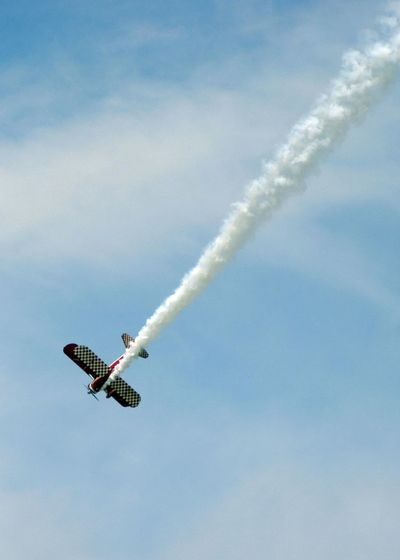 Aerobatics Aerospace Industry Air Vehicle Airplane Airshow Cloud - Sky Day Flying Low Angle View Mid-air Military Airplane Mode Of Transportation Motion Nature No People on the move Outdoors Plane Sky Smoke - Physical Structure Speed Transportation Vapor Trail