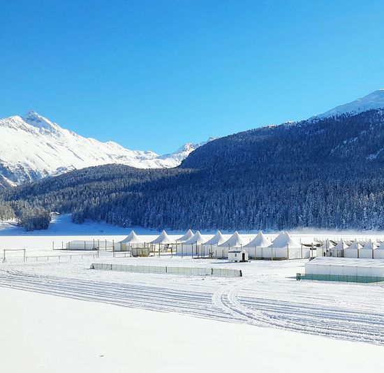 Snow Mountain Cold Temperature Sky Winter Mountain Range Water Scenics Tranquil Scene Beauty In Nature Landscape Blue Idyllic Tranquility Outdoors No People Lake Frozen Day Snowy Mountains Nature No People , WINTER Nature Snow ❄ Saint Moritz