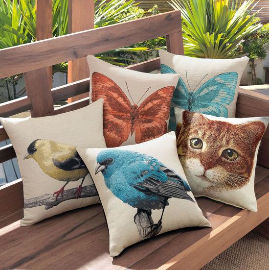 Cute animal printed pillows Animal Animal Print Animal Printed Pillow Animal Prints Animal Themes Bird Prints Butterfly Print Cat Cat Prints Chair Cushions  Feline No People Pad Pets Pillows Printed Cushion Seat