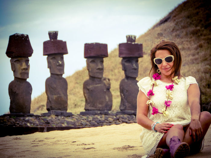Ahu Nau Nau, Easter Island Beach Wedding Planner In Easter Island Easter Island Beach Moais Sunglasses Adult One Woman Only Adults Only People Only Women One Person EyeEm Ready   EyeEmNewHere