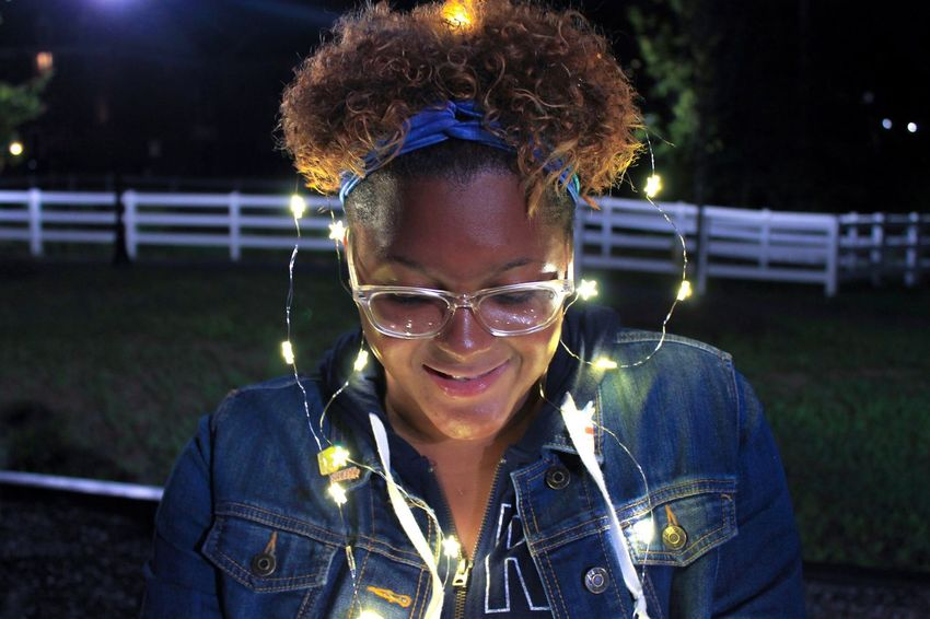Summer nights Real People Outdoors Night Portrait Eyeglasses  Illuminated Fairylights Canon Canonphotography Nightphotography