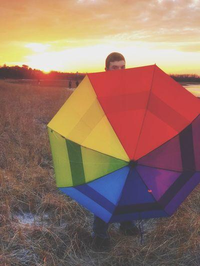 Uniqueness Sunset Capecod Rainbow Umbrella