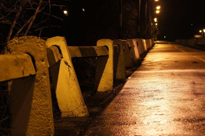 After Rain Fallen In A Row Night No People Rail Skew Way