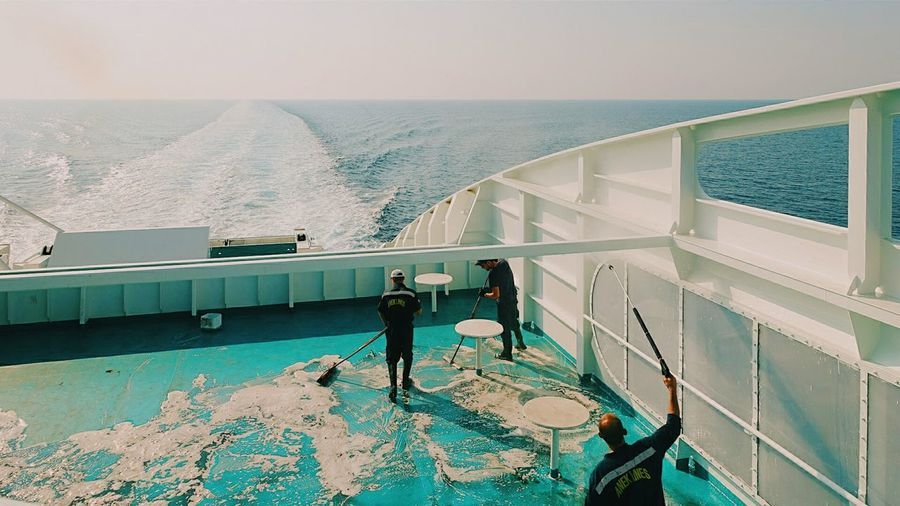 Sea View Water Tracks Water Trail Saltwater Soapy Water Cleaning Crew Staff Members Working Hard Refreshment Keep It Clean Cleaning Up! Dirty Floor All About Water Perspective The Life On Board Welcome On Board Ferry Views White Horizon Over Water Horizon
