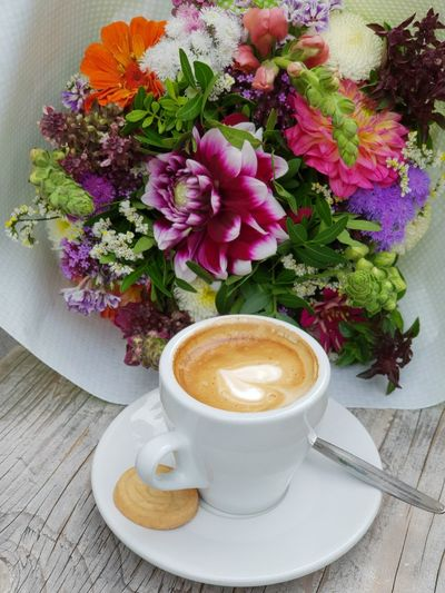 coffee Bouquet Botany Flowers Cup Coffee Break Cafe Culture Heartshape Coffee Beans Cozy Place Happiness Lovely View Peaceful EyeEm Best Shots Ready-to-eat Good Morning Cookie Biscuit On The Table Flower Froth Art Frothy Drink Cappuccino Mocha Drink Latte Table Saucer Coffee - Drink Espresso Caffeine