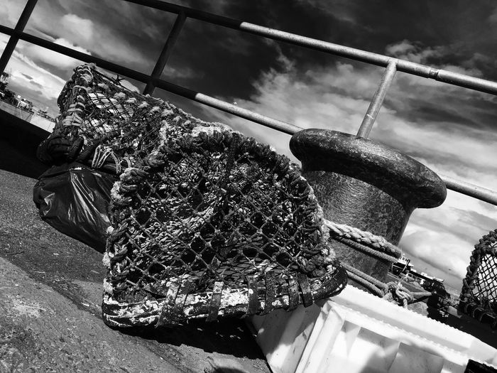 Black And White Seahouses Crab Pots Fishing