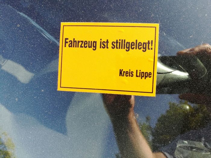 Yellow Communication Text Low Angle View Star - Space Close-up Outdoors Road Sign No People Day Sky Occupational Safety And Health Astronomy Galaxy Taxes StillLifePhotography Stillgelegt Steuerschuld Kfz Kraftfahrzeug Car Dont Drink And Drive Kreis Lippe Window Dirty Window