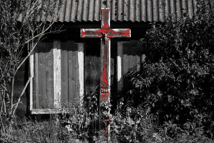 Crosses Lithuania Old House . Architecture . Architecture Built Structure Day No People Old House Red Tree Uninhabitable Village Village Life Village Photography
