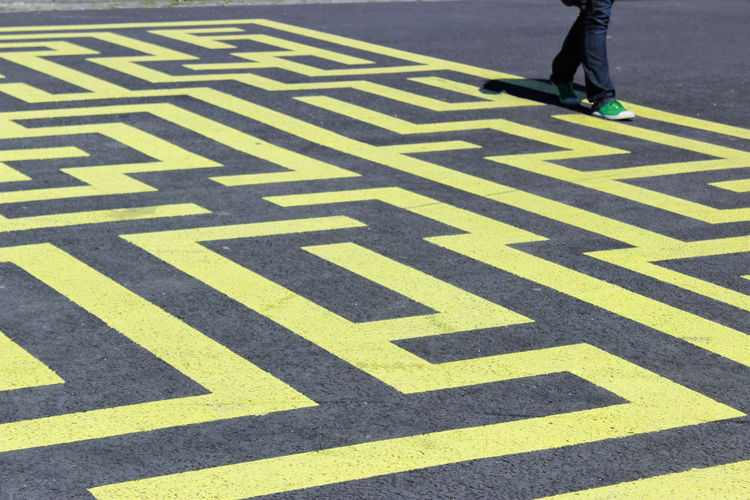 Labyrinth on the street Background Challenge Day Exit Game Graphic Grey Human Leg Idea Labyrinth Labyrinthe Lines Lost Outdoors Paris Path Pathway Problem Puzzle  Riddle Street Art Urban Walking Way Yellow