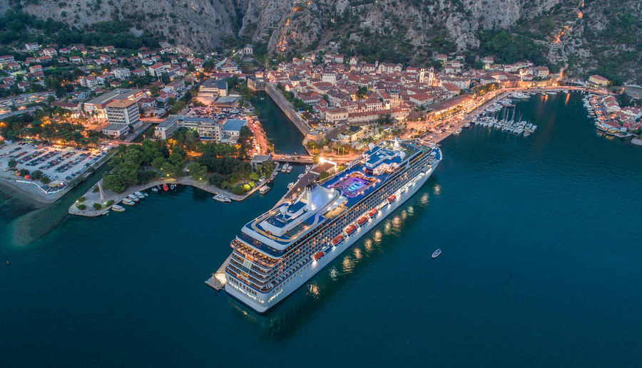 Aerial View Of Kotor old town with cruiser Kotor, Montenegro Cruiser Night Drone  Aerial View Old Town Montenegro Panorama First Eyeem Photo