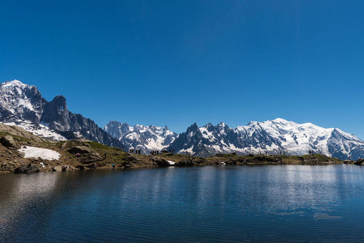 Mont Blanc Mont Blanc Massif Chamonix-Mont-Blanc Lac Lake Mountain Beauty In Nature Scenics - Nature Tranquil Scene Cold Temperature Mountain Range Tranquility Water Snow Snowcapped Mountain No People Mountain Peak Day Landscape Outdoors