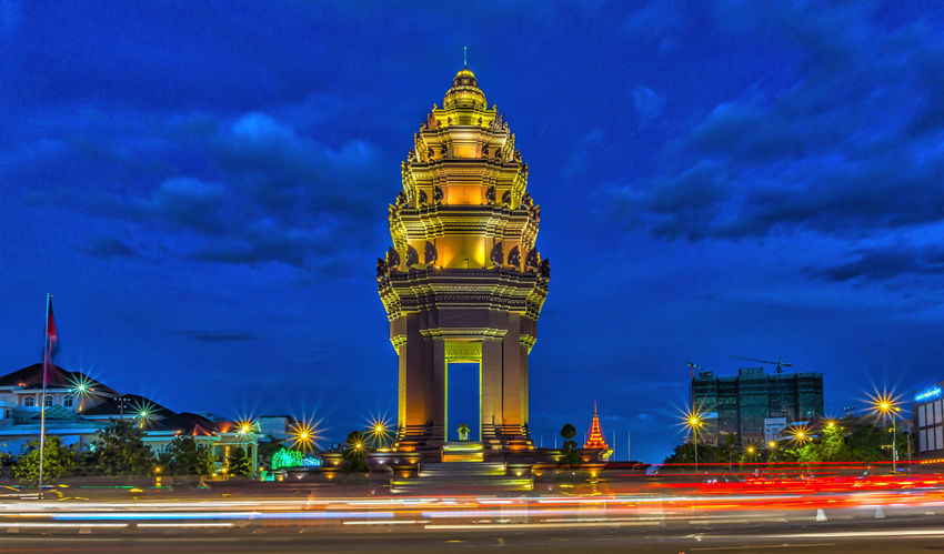 Independence Monument Architecture Blurred Motion Built Structure City Illuminated Independence Monument Light Trail Long Exposure Monument Motion Night No People Outdoors Sky Speed Travel Destinations