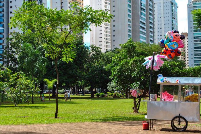 carrinho de pipoca, uns balõezinhos e uma tarde linda 🌻 Goiânia Parque  Tarde  Pipoca Natureza Prédios árvores Verde Parque Flamboyant Fotografia First Eyeem Photo