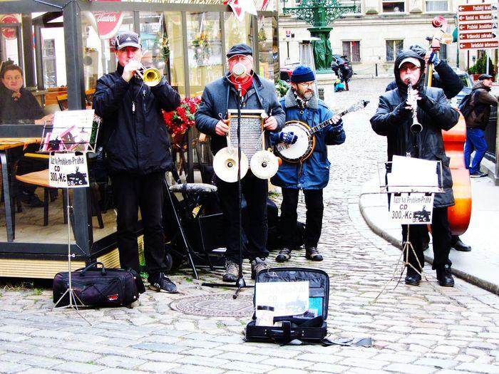 Music Jazz Musicians Ensemble Musical Instruments Christmas Cold Winter Prague Czech Republic