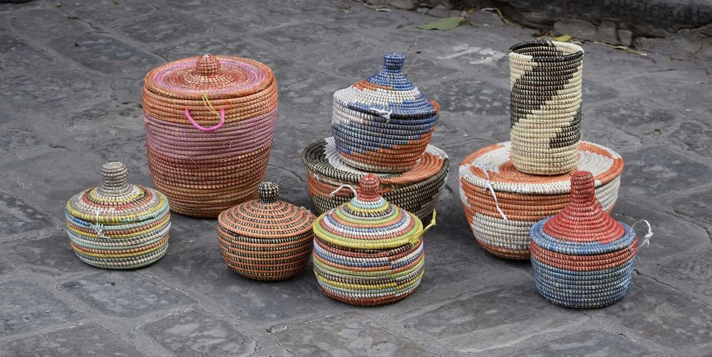 Basket Variation Large Group Of Objects No People Multi Colored Day Outdoors Close-up Street Photography Italy Visit Italy Florence The Week On EyeEm Woven Baskets Woven Colour Artisan Market Art And Craft Hand Made