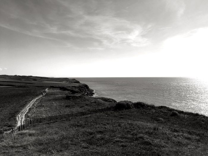 Cap Gris Nez, Côte d'Opale Lenkacam ShotOnIphone IPhone Black And White Photography Black & White Black And White France Côte D'Opale Opale Coast Cap Gris-Nez Clouds And Sky Nature Sea Tranquil Scene Horizon Over Water Scenics Beauty In Nature Water Tranquility Outdoors Sky Landscape Grass