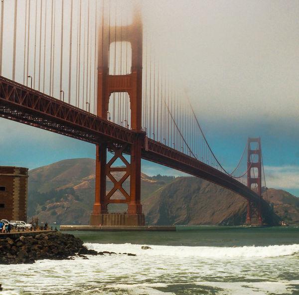 Bridge Bridge - Man Made Structure Cloud - Sky Golden Gate Bridge Golden Gate Bridge Golden Gate Bridge Is Red Low Angle View Mist River Suspension Bridge