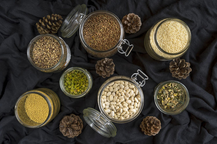 Beans, grains and seeds Beans Cooking Rice Seasonal Food Seeds Broad Beans Close-up Food Grains Healthy Food Ingredient Jars  Kitchen Lentils Semolina Spelt Grains White Beans