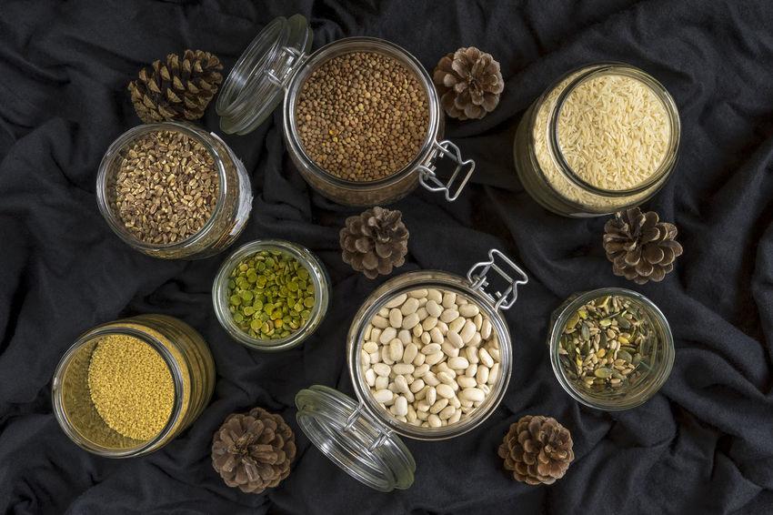 Beans, grains and seeds Beans Cooking Rice Seasonal Food Seeds Broad Beans Close-up Food Grains Healthy Food Ingredient Jars  Kitchen Lentils Semolina Spelt Grains White Beans