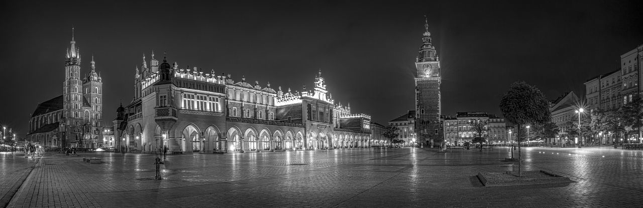 Wide panoramic view of the market square in the center of the old town of Krakow, Poland. Architecture Basilica Building Exterior Built Structure Church City Cityscape Clock Tower Europe Historic Illuminated Krakow Mariacki Market Market Square Monument Night Outdoors Panoramic Poland Rynek Główny Sukiennice Travel Travel Destinations Urban Skyline The Architect - 2017 EyeEm Awards Black And White Friday