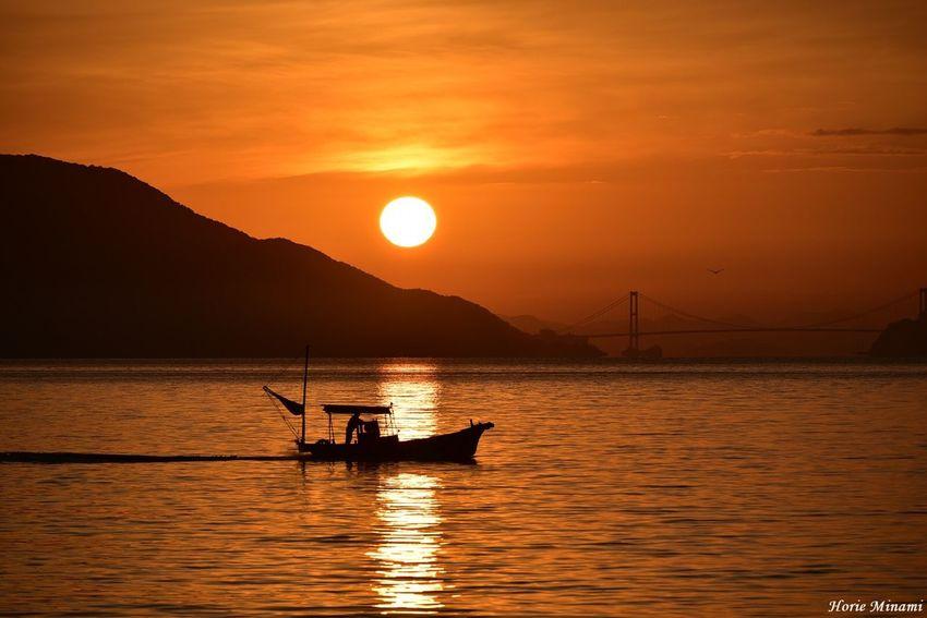 Hiroshima Kure Sunrise EyeEm Best Shots EyeEm Selects EyeEm Gallery EyeEmNewHere Water Sky Beauty In Nature Orange Color Sea